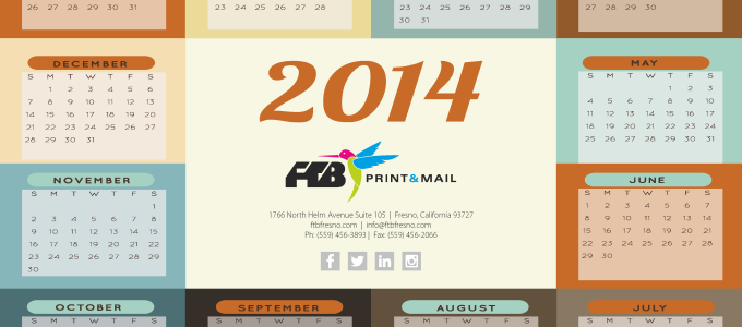 FTB Print & Mail Calendar, 2014, calendar, new year, january, februrary, march, april, may, june, july, august, september, november, december, months